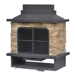 Garden Treasures Brown Steel Outdoor Wood-burning Fireplace