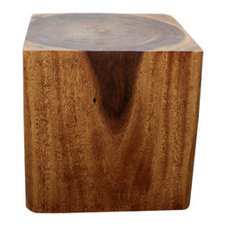 Kammika - Cube End Table 18x18x18 inch H Sust Monkey Pod Wood in E Frndly Livos Walnut Oil - We felt this sturdy Sustainable Monkey Pod Wood Cube 18 inch x 18 inch x 18 inch End Table in Eco Friendly, Natural Food-Safe Livos Walnut Oil Finish deserved a name that sounded as artistic as it looked. A tasteful blend of rusticity and refinement, this Cube reminds us that strength and beauty can go hand in hand. Its smooth surfaces entice you to feel them, admire the rich wood grain, and appreciate the natural beauty. Designed for standalone use, or in groups as a table or bench, each is carved from a piece of Monkey Pod wood and finished with Livos Walnut Oil. Appealing to the viewer from any angle, each piece is a Work of Art! Craftspeople from the Chiang Mai area in Northern Thailand create these pieces with the simplest of tools. After each Monkey Pod Wood (Acacia, Koa, Rain Tree grown for wood carving) piece is kiln dried, carved and sanded, Livos Walnut oil creates a water resistant and food safe matte finish. The natural oils are translucent, so the wood grain detail is highlighted. Color ranges from medium to dark Walnut brown tones that will darken as the wood ages. There is no oily feel; and cannot bleed into carpets, as it contains natural lacs. Made from the branches of the Acacia tree - where each branch is cut and carved to order (allowing the tree to continue growing), we make minimal use of electric hand sanders in the finishing process. All products are dried in solar and or propane kilns. No chemicals are used in the process, ever. This piece is packaged with cartons from recycled cardboard with no plastic or other fillers. The color and grain of your piece of Nature will be unique, and may include small checks or cracks that occur when the wood is dried. Sizes are approximate. Products could have visible marks from tools used, patches from small repairs, knot holes, natural inclusions or holes. There may be various separations or cracks on your piece when it arrives. There may be some slight variation in size, color, texture, and finish color.Only listed product included.