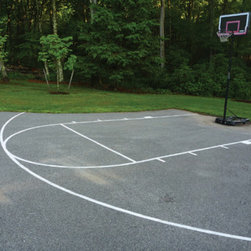 "Stencil Ease - Basketball Court Stencil Kit - Our Basketball Court Stencil Kit is manufactured to NCAA regulation court specifications. The overall dimensions to the outside free-throw lines are 12 feet wide x 25 feet and 2 inch (top of radius). All lines are 2 inch thick. The basic kit comes with 32 stencil pieces that lay-out to make your basketball court (the 3 point line is NOT included in the BASIC kit). The Stencil Ease basketball court is available in our thickest 60 mil (1/16 inch) heavy-duty reusable plastic industrial material. These are NOT made out of cardboard. The 60 mil material is designed to lay flat stand up to wind gusts and is specifically used for marking concrete pavement or any surface. With these stencils and our over-spray box (comes with kit) your basketball court will paint out with crisp clean lines every time. This stencil kit will last for years and can be used hundreds of time with little to no maintenance. This kit ships with a detailed map a layout guide and a Basketball Court drawing with college/high school specifications showing all dimensions and court measurements (also available as a PDF below). NOTE: 60 mil kit weighs 42 lbs and ships in a 20"" x 20"" x 12"" box. Watch Demo using 60 mil **MATERIAL TIP** 60 MIL MATERIAL 60 mil material should be used if you are using spray paints or spray equipment **APPLICATION TIP** Don't want the lines to have gaps or breaks? After you paint the court simply slide the stencil into a different position over the lines you've already applied and spray. more info about our stencil material."