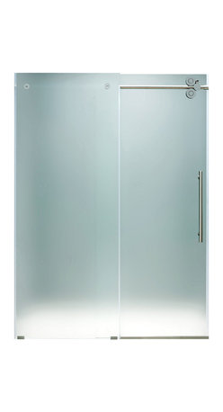 "VIGO Industries - VIGO 72-inch Frameless Shower Door 3/8"" Hardware, Frosted/Chrome, Right - This VIGO frosted shower door gives you a privacy level that enhances your shower experience."