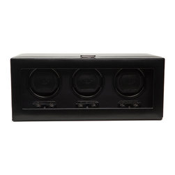 WOLF - Heritage Triple Watch Winder w/cover in Black - Keep all your timepiece investments ticking away when they're not on your wrist with this automatic winder. There's a wide choice of rotation directions and preset turns so each and every one will feel special. Wish all your other investments could be so safe.