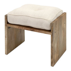 Perfect Perch Ottoman - Rustic wood and a neutral fabric blend to create this versatile ottoman. It'll go with anything. Even your tired feet.