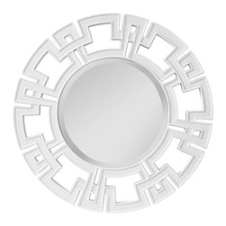 "Murray Feiss - Asian Murray Feiss Helena 34"" Wide Round Wall Mirror - This sparkling wall mirror makes an elegant addition to a contemporary or transitional home decor. The cut-out design frame is finished in glimmering mirror glass that surrounds a beautifully beveled round mirror. A handsome wall mirror design from Murray Feiss. High gloss white finish round wall mirror. Resin construction frame. 34"" high 34"" wide. Glass only is 19"" high 19"" wide. 3/4"" bevel glass.  High gloss white finish round wall mirror.   Resin construction frame.   34"" high 34"" wide.   Glass only is 19"" high 19"" wide.    3/4"" bevel glass."