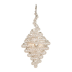 Kathy Kuo Home - Wishmere Glass Bauble Spiral Helix 4 light Chandelier - This helix style chandelier, crafted from blown glass balls in a spiral design, delivers a classic modern lighting effect.  Perfect for contemporary spaces in need of a luxurious interpretation of a modern spiral light fixture.
