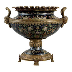 Oriental Danny - Grand porcelain planter with bronze ormolu - Grand size hand painted porcelain planter accent with bronze ormolu. It is great for centerpiece holding beautiful flower arrangement. Classic Miramar pattern with black background. Heavy solid bronze ormolu makes this piece a grand statement.