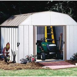 Arrow Shed - Arrow Shed Lexington 10 x 14 ft. Shed Multicolor - LX1014 - Shop for Sheds and Storage from Hayneedle.com! The Arrow Shed Lexington 10 x 14 ft. Shed is a perfect symbol of the American dream: life liberty and the pursuit of a perfect lawn. After all when you're able to enjoy a well-maintained yard through gardening or entertaining that doesn't seem to fall too short of happiness. Of course a well-kept lawn and garden is no easy trick and requires both hard work and lots of equipment. When the work is done though hiding your tools in this attractive shed makes your results look effortless. And with all the implements you can fit in this shed you'll be able to liberate your basement yard and garage of all manner of clutter. The simple pairing of eggshell and taupe adds a strong touch of beauty that compliments any exterior design or landscaping. The gambrel-style roof design both avoids rainwater pooling up top and affords you ample extra head room when grabbing your implements or actually working in the shed. With easy-sliding doors that can be padlocked this shed keeps your items safe and sound. Made in the United States this shed is constructed with electro-galvanized steel making it affordable durable and attractive. With numbered and predrilled parts this shed can be assembled quickly and easily as a weekend project with basic DIY skills.Additional Features:Exterior Dimensions: 123.25W x 162.75D x 87.88H inchesInterior Dimensions: 118.25W x 157.5D x 86.63H inchesDoor Dimensions: 55.5W x 60H inches852 cubic feetAbout Arrow Storage ProductsEstablished in 1962 as Arrow Group Industries Arrow Storage Products is now the worldwide leader in designing manufacturing and distributing steel storage sheds that are easily assembled from a kit. Arrow Storage Products hasn't garnered its 13 million customers by resting on its laurels either. The company takes great pride in having listened to their customers over the years to develop quality products that meet people's storage needs. From athletic equipment to holiday decorations from tools to recreational vehicles Arrow Storage Products prides itself on providing quality USA-built structures that offer storage solutions. Available in a wide variety of sizes models finishes and colors - Arrow's products are constructed with electro-galvanized steel to be more affordable durable attractive and easy to assemble.