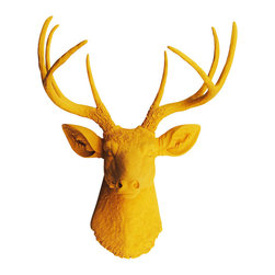 White Faux Taxidermy - The Victoria - Mustard Yellow Faux Resin Deer Head - Measurements: