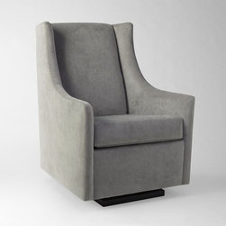 Graham Glider - This is the way to do a glider. It has a modern shape but still looks comfortable. The soft gray would work with any color scheme.