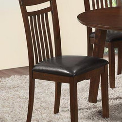 "Monarch Specialties - Monarch Specialties Side Chair in Antique Oak (Set of 2) - These 38,5"" high antique oak side chairs accentuate the dining table with their simple rectangular design. These leather-look chairs are exquisitely cushioned for your utmost comfort. They undeniably add style and appeal to the dining set."