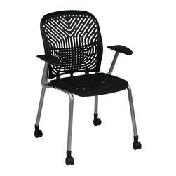 Space - Deluxe SpaceFlex Visitors Chair w Arms & Cast - A sophisticated color palette and modern design make this tubular steel visitors chair an appealing choice for any office. Highlighted by an innovative flexible seat and back designed to self adjust with each user, the chair has padded arms and a castered base and is sold in a set of two. Set of 2. Self adjusting SpaceFlex seat and back. Platinum  finish frame with Black arms and casters. Seat: 18 in. W x 18 in. D. Back: 18 in. W x 19 in. H. 25.25 in. W x 22.5 in. L x 35 in. H (33 lbs.)