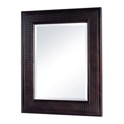 Pegasus - Bimini 30 in. Mirror in Espresso Finish - F10 - Manufacturer SKU: F10AE0029A. 1 in. beveled glass mirror. 1.5 in. frame thickness. British cane inserts. 24 in. x 30 in. H (18 lbs.)
