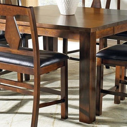 Steve Silver Co. - Lakewood Counter Height Dining Table - Chairs not included. Contemporary style. One 20 in. leaf. Corner block construction. Tongue and groove joints. Seating capacity: 8. Rich cherry finish. Made in Vietnam. Minimum: 40 in. L x 40 in. W x 36 in. H (190.5 lbs.). Maximum: 60 in. L x 40 in. W x 36 in. HThe Lakewood Collection is a perfect blend of old style meets new.