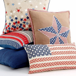 Martha Stewart Collection Bedding, Americana Stars and Stripes Pillows - How about this set of patriotic pillows? It is a simple way to decorate a living room or bedroom.