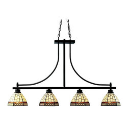 "Z-Lite - Z-Lite 4 Light Island Light - The traditional styling of this four light fixture creates a classic statement. Finished in bronze, this four light fixture uses warm glowing tiffany shades to compliment its classic look, and 72""  of chain per side is included to ensure the perfect hanging height."