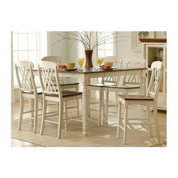 Homelegance - Two-Tone Counter Height Dining Set in Wood - Includes counter height table and 4 counter height chairs. Wood construction. White finish. Table: 36-54 in. L x 54 in. W x 36 in. H. Chair: 22 in. W x 19.5 in. D x 42.75 in. H