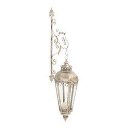 Vintage Themed Metal Glass Wall Lantern - Description: