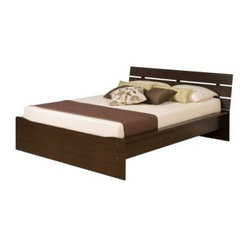 Avanti Queen Platform Bed with Integrated Headboard - Espresso