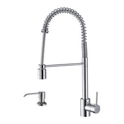 Ruvati - Ruvati Polished Chrome Commercial Style Pullout Spray Kitchen Faucet with Soap D - This polished chrome faucet features solid brass construction and a ceramic disc Sedal cartridge. The flexible coil spout has a pull-out head that switches between stream/ spray. Hot and cold water connection lines, and a soap dispenser is also included.