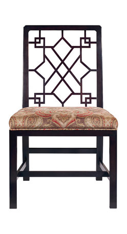 Baker Furniture - Chinese Chippendale Side Chair - A Chinese Chippendale, cockpen chair with carved and moulded borders to the almost rectangular back support and arms, the splats carved and pierced with an unusual chinoiserie geometric pattern; the upholstered seat frame surrounded with mahogany borders on square, moulded and chamfered legs united whit an H-shaped stretcher.  English circa: 1760.