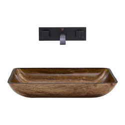 Vigo Industries - Vessel Sink and Wall Mount Faucet - Includes pop up drain, mounting ring, all mounting hardware and hot/cold waterlines