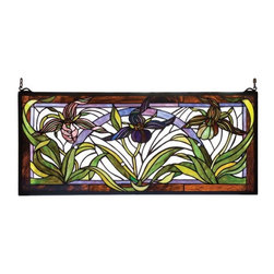 Meyda Tiffany - Meyda Tiffany Wildflowers Lady Slippers Stained Glass Window X-82922 - From the Wild Flowers Collection, this Meyda Tiffany stained glass window depicts multiple Lady Slippers flowers in vivid shades of lavender and plum. The leaves and stems feature light and medium green tones, while a light backdrop and brown trim pull the look together.
