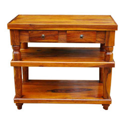 Rustic Wood 2 Storage Drawers Entry Console Hall Table - Stunning Solid Indian Rosewood Multiple Shelf Butcher Block Style Console Table. It includes two spacious shelves and two drawers for lots of storage space. The Table Legs are Hand Carved Thick Pillar Style for a strong and sturdy design. Solid Indian Rosewood has been properly treated and seasoned followed by a lengthy hand waxing process that gives this Table an outstanding and durable finish. This table is perfect for a country kitchen but would look great in a foyer or hallway also. The true beauty of the wood will take your breath away!