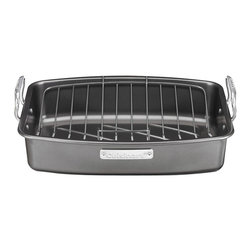 "Cuisinart - Cuisinart 17"" x 13"" Non-Stick Roaster Pan with V-Rack - Roast meat to tender perfection in this steel roaster pan. It fits all standard-size ovens, including yours, and features a non-stick removable rack and cooking surface. Wide handles make it easy for you to put it in and remove it from your oven. Limited lifetime warranty."