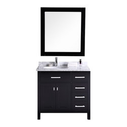 "Design Element - Design Element London 36"" Espresso Modern Single Sink Vanity Set - Right - This version of the London 36"" vanity set is sturdily constructed of solid hardwood. The white Carrara Marble countertop's classic beauty and the contemporary cabinet styling bring a crisp, clean look to any bathroom. Seated at the base of the ceramic sink is an included chrome-finished pop-up drain designed for easy one-touch draining. The London has ample storage, which includes four functional drawers and a soft-closing double-door cabinet, all of which is accented with satin nickel hardware. A matching mirror is also included."