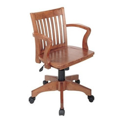 Office Star - Office Star Deluxe Wood Banker's Chair with Wood Seat in Fruit Wood Finish - OSP Designs Deluxe Wood Banker's chair with Wood Seat in Fruit Wood Finish