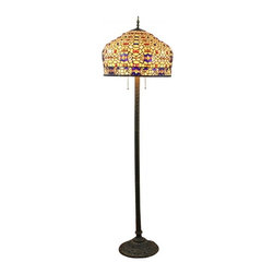 "20"" Colorful Stones Tiffany Style Floor Lamp - Colorful Stones Tiffany Style Floor Lamp that is constructed in a Tiffany style will not only bring light to your home, but also create an intimate environment. You can place it in any type of room, and it will work great when placed on your nightstand, providing enough light for you to read."