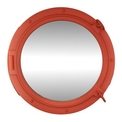 Handcrafted Nautical Decor - Orange Porthole Mirror 24'' - This Orange Porthole Mirror 24'' adds sophistication,   style,   and      charm for those looking to enhance rooms with a nautical    theme.    This    boat porthole has a sturdy, heavy and authentic    appearance,   yet  it is    made of wood and fiberglass to lower the    weight for use   as  nautical  wall   decor. This porthole mirror makes a    fabulous   style  statement in  any   room with its classic round  frame, five   solid rivets  and two dog   ears  surround the perimeter  of the     porthole frame.--Dimensions: 24'' L x 2'W x 24'H----    Functional porthole mirror that will reflect the light in any space--    Handcrafted and hand-painted an orange finish by our master artisans--    Realistic nautical decor - modeled after an antique 19th-century ship's porthole--    --    Great porthole wall decor and an instant conversation piece--