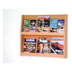 6 Magazine/12 Brochure Wall Display - When you want to consolidate your reading material and company literature into one space the 6 Magazine/12 Brochure Wall Display is the ideal solution. It's constructed with solid oak sides and an oak veneer back. The slanted back shelf gives you a full view of the literature while keeping it neat and organized. This display unit has a state-of-the-art finish and is available in several color options. Removable dividers keep literature and magazines neat and orderly and allow you to display smaller brochure-size literature as well as oversized reading materials like newspapers. This unit is predrilled and hardware is included for simple wall mounting. Create an uncluttered atmosphere with the 12-Pocket Literature Display. About Wooden MalletFor over 20 years Wooden Mallet has been turning Northern Red Oak into beautiful and functional American-made wood products for commercial and residential settings. Wooden Mallet manufactures and distributes various styles of magazine and brochure display racks chart holders luggage racks coat and hat racks and reception chairs and tables crafted from solid oak sides and components. In addition to a technological manufacturing process Wooden Mallet also employs a unique finishing process using ultraviolet light to cure the finish into the wood for a more durable lasting finish. This process meets the emission standards set by the Environment Protection Agency. For the past 10 years Wooden Mallet has ranked consistently in the top 100 of the Wood & Wood Products Wood 100 Annual Report for Solid Wood and Panel Technology.