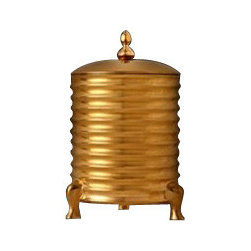 "L'Objet - L'Objet Decorative 3-Wick Canister Candle with Lid - L'Objet is best known for using ancient design techniques to create timeless, yet decidedly modern serveware, dishes, home decor and gifts. Limoges Porcelain. 24K Gold PlatingMeasurements: 5.5"" x 9"" Luxuriously Gift Boxed"