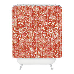 DENY Designs - Heather Dutton Bursting Bloom Spice Shower Curtain - Your bathroom will burst to life with the oversize blooms, bright color and playful pattern of this shower curtain. White flowers pop against the paprika background printed on woven polyester. Spice up your morning routine.