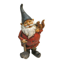 EttansPalace - Digger, the Garden Gnome Statue - From The Acorn Hollow Garden Statuary Collection; When you could use a little gnome magic at your entryway, garden vegetable plot or flowerbed, Digger the Garden Gnome Statue is at the ready! Sporting a pointy elf hat and trusty gnome spade, this garden elf statue greets his squirrel friend with the same warm welcome hell extend to all visitors to your home or garden. Imaginatively sculpted, our quality designer resin garden gnome statue is hand-painted one piece at a time.