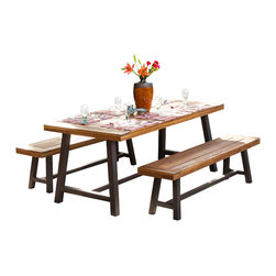 Great Deal Furniture - Bowman Picnic Table Set - Add a perfect focal point to your indoor space with this casual Acacia wooden picnic table set. The Bowman table and benches are each complete with a folding steel frame that accentuates the sandblasted finish to offer a raw yet refined edge to any arrangement.