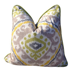 PillowFever - Cotton Pillow with Moroccan Print in Purple, Yellow and Green Colors - Pillow insert is not included!