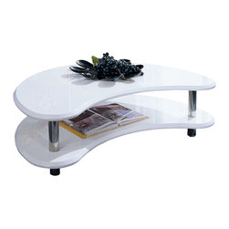 Double Boomerang Coffee Table in White - Update your coffee table for one that brings retro design into modern times. This table�۪s kidney-bean design and white lacquer finish make it a versatile fit for the living room, while the bottom shelf, connected by stainless steel legs, is a lovely, open space for storing and displaying coffee table books and other treasured collectibles.