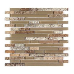 Stone & Co - All Marble Mosaic Glass and Stone blend Random Strip 12 x 12 Mosaic Tile Mag-443 - All Marble Mosaic Glass and Stone blend Random Strip 12 x 12 Mosaic Tile Mag-4438-ST