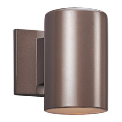 Sea Gull Lighting - Sea Gull Lighting 8338-10 Bronze Contemporary Outdoor Cylinder Wall Sconce - International Dark Sky Association Approved.
