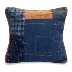 Donna Sharp - Donna Sharp Denim Square 15-Inch Toss Pillow - The classic patchwork gets a contemporary makeover in the Denim Square quilt. A unique hopscotch pattern richly detailed with geometric stitching in navy, denim, and a warm caramel creates an inviting, cozy feel.