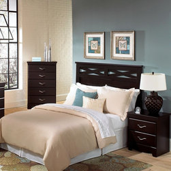 Standard Furniture - Standard Furniture Crossroads 2 Piece Panel Headboard Bedroom Set - Crossroads is a modern style worth embracing. Wood products with simulated wood grain laminates. Group may contain some plastic parts. French dovetail drawers. Roller side drawer guides. Slender silver color handles are sleek and stylish. Cherry color finish. Surfaces clean easily with a soft cloth.