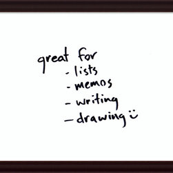 Amanti Art - 'Espresso Glass Dry-Erase Board - Medium' Framed Art Print 31 x 25-inch - Perfect for writing and drawing, this glass message board works with standard dry erase markers (not included).This Espresso Glass Dry-Erase Board features a frame of rich brown color bordered by a black outer edge with striations running across the frames inwardly sloping design.