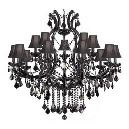 "The Gallery - JET BLACK CHANDELIER CRYSTAL LIGHTING CHANDELIERS H38"" X W37"" WITH BLACK SHADES! - JET BLACK CRYSTAL CHANDELIER. A great European tradition. Nothing was ever quite so elegant as the fine crystal chandeliers that lent sparkle to brilliant evenings in palaces and manor houses across Europe. This beautiful version from the Maria Theresa collection is decorated with 100% crystal that capture and reflect the light of candle bulbs resting in a scalloped bobeche. The timeless elegance of these chandeliers is sure to lend a special atmosphere in every home. H.38"" W.37"" 16 LIGHTS BULBS NOT INCLUDED. ASSEMBLY REQUIRED. COMES WITH 18"" OF CHAIN. SHADES INCLUDED**"