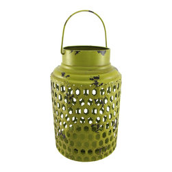 Zeckos - Round Green Metal Candle Lantern Distressed Finish 12 In. - This decorative lantern is a beautiful accent to tables in your home or on your porch or patio. Made of metal, it measures 12 inches tall, has an 8 inch diameter, and has a metal handle so you can hang it up. It can accommodate candles up to 10 inches tall, 4 1/2 inches in diameter, and top is open so you can easily change them. A fun alternative to traditional candles is battery powered LED candles with timers, for worry-free accent lighting. This lantern is a great addition to your home, and it makes a lovely gift.