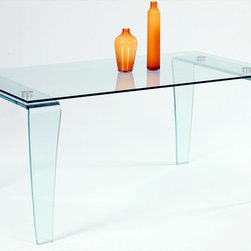 """Chintaly Imports - Vera Modern Glass Dining Table - All glass rectangular dining table; Clear glass legs; Only table top glass is tempered.; Dimensions:62.99""""W x 35.43""""D x 29.53""""H"""