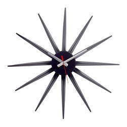 LexMod - Starburst Clock - Recreate reality and ride into new universes with this designer timepiece in black lacquered metal. From hidden depths and first inklings allow yourself to surge forth and navigate successful realms. Enjoy this George Nelson classic as you witness striking statements shooting forth with energy and charisma that draw attention to a cosmic event made public.