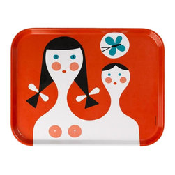 Vitra - Classic Trays, Mother and Child - Classic midcentury design and sensibility come together in one colorful package. This thermoset plastic tray features a pattern first designed by Alexander Girard in eye-popping red, salmon, turquoise, black and white. Prop it on a shelf as art if you can't bear to cover up the fantastic design.