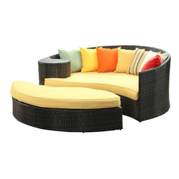 Modway - Taiji Daybed in Brown Orange - Harmonize inverse elements with this radically pleasing daybed set. Seven plush throw pillows adorn Taiji's thick all weather orange cushions allowing for the splendorous blending of mediating elements. Find the key to attainment as you bask in a charged and unified landscape of expansiveness.
