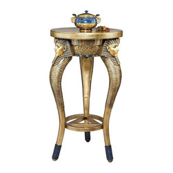 EttansPalace - Classic Egyptian King Tut Sculpture Side Occasional Table - Add a touch of the exotic with the rich details of ancient Egypt! Three images of Tut, the famed boy king, anchor its tripod legs while a central pyramid anchors the center of this exclusive. Cast in quality designer resin, this coveted occasional table, perfect flanking a sofa or entryway, is expertly hand-painted with faux gilding and the rich colors of the Egyptian palette.